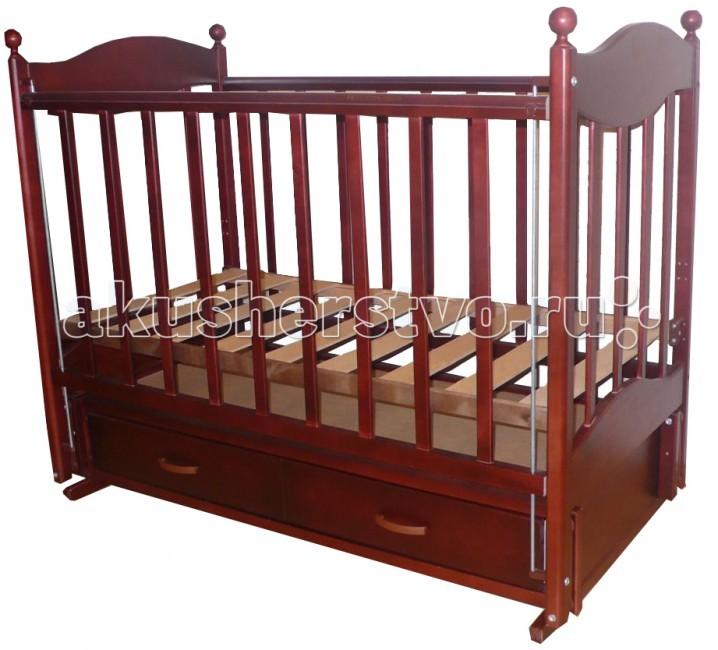 Детская кроватка Ведрусс Эля (продольный маятник)Эля (продольный маятник)Детская кроватка Ведрусс Эля, оснащенная маятниковым механизмом, считается одной из самых удобных – она обеспечивает плавное качание ребенка и облегчает маме уход за малышом, особенно в первые месяцы его жизни. Дно детской кроватки можно регулировать по высоте в зависимости от возраста ребенка, то есть пока он не научился сидеть, дно кроватки устанавливается в верхнее положение, а затем - в нижнее положение.   Выдвижной ящик детской кроватки очень функциональное и практичное дополнение к кроватке – он может использоваться для хранения постельного белья и всего, что должно быть «под рукой» у мамы. Ящик оснащен металлическими направляющими с лёгким скольжением.  Характеристика: маятниковый механизм закрытый выдвижной ящик  автостенка  ПВХ-накладка  инкрустирована «сердечком»  2 уровня ложе кроватки  трансформируется в диван  реечное основание кроватки  отсутствие выступающих углов и неровностей, что обеспечивает безопасность для малыша  материал – береза (обеспечивает высокую прочность и долговечность)  древесина обработана экологически чистым лаком размер спального места: 120х60 см размер кроватки: 125 х 78 х 106 см<br>