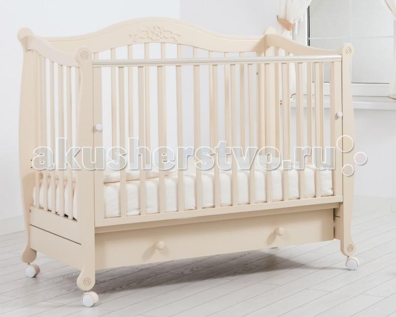 Детская кроватка Гандылян МоникаМоникаДетская кровать Гандылян Моника станет замечательным спальным местом Вашего для малыша.   Кроватка изготовлена из массива бука, идеально подходящего для детской мебели. Кроватка на съёмных колесиках, что позволяет легко перемещать кроватку по комнате.   Характеристики кроватки Гандылян Моника:  Уникальный механизм опускаемой боковины в 2 положениях с фиксатором  Удобный, вместительный выдвижной ящик для белья  Два уровня ложе  Силиконовые накладки  Опора на 4-х снимающихся колёсах  Отсутствие острых углов и деталей  Размер под матрас: 120 х 60 см  Внешние размеры кроватки (ДхШхВ):133x72x111 см<br>