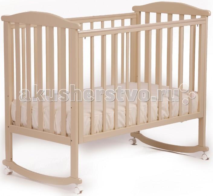 Детская кроватка Кубаньлесстрой АБ 15.0 Лютик качалка без ящикаАБ 15.0 Лютик качалка без ящикаДетская кроватка-качалка Лютик от компании Кубаньлесстрой - простая и функциональная. Конструкция кроватки выполнена из натурального дерева - массива бука. Древесина бука - идеальный материал для детской мебели, экологически чистый, не боящийся влаги и долговечный, а на покрытие идут только нетоксичные краски и лаки. К тому же природный цвет дерева оказывает благотворное, успокаивающее воздействие на человеческую психику, вызывая чувство уюта и комфорта.   Малышам в первые месяцы жизни безусловно придется по нраву такая особенность кроватки, как качалка. Позже, когда необходимость в ней исчезнет, просто зафиксируйте кроватку, установив колесики с надежными стопорами.  Неподвижность конструкции обеспечивает фиксация колес.   механизм качания: колесо-качалка габаритные размеры в собранном виде (мм) (ДхШхВ): 1250 х 720 х 1080 размер спального места(мм): 1200 х 600 колеса: есть кол-во уровней дна: 3 опускающаяся передняя стенка: есть/2 положения съемная передняя стенка:есть вынимающиеся рейки: есть/3 рейки защитные накладки: есть вес в упаковке: 18.7 габаритные размеры упаковки:1250 х 740 х 140 материал кровати: массив бука ящик под кроватью: нет самоориентирующиеся колеса (съемные)  отсутствуют острые углы  древесина обработана экологически чистым лаком  безопасное расстояние между рейками 80 мм<br>