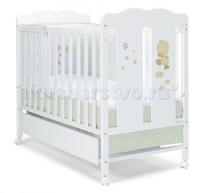 Детская кроватка Micuna Dido 120х60Dido 120х60Детская кроватка качалка Micuna Dido подарит Вашему малышу не только тепло и уют, но и познакомит с новым другом – весёлым утёнком Dido. Эта простая и удобная мебель идеально подходит для детей всех возрастов и наполняет жизнь радостью и позитивом.  Кроватки испанской компании Micuna изготавливаются в Валенсии из экологически чистых материалов. В первую очередь, это бук – традиционное дерево для мебели и музыкальных инструментов. Элементы из МДФ – материала, созданного без применения эпоксидных смол и фенола на основе природного полимера лигнина, дополняют конструкцию. Краски и лак, которыми покрывают кроватки, приготовлены из натуральных компонентов и не создают вредных испарений.   бортик кроватки опускается  ложе регулируется по высоте – 2 позиции  посредством снятия бортика кроватка легко превращается в диванчик  материал: бук, МДФ  в комплект не входит ящик для кровати, но его можно заказать дополнительно  дополнительная опция – качалка   Размеры: кроватка (ДхВхШ): 125х96х65 см<br>