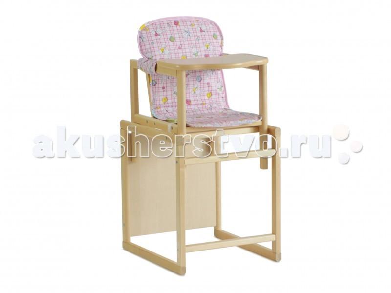 Стульчик для кормления СКВ Компани Ням-НямНям-НямУниверсальный стульчик-трансформер СКВ Ням-Ням: переделывается в стул и стол.   Материал - натуральная древесина, сидение - синтепон и современное легкомоющееся покрытие. Этот стул-парта прослужит вашему малышу очень долго.   Два варианта использования: cтульчик для кормления. Высота от пола 52 см. Два положения столешницы и два положения спинки. стульчик и парта. размер посадочного места (см): 36х48 вес с упаковкой (кг): 8 кг<br>