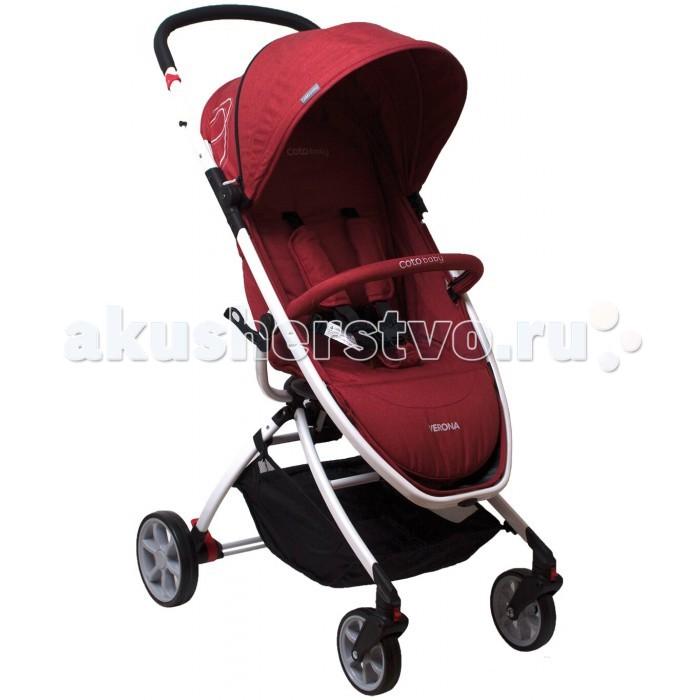 Прогулочная коляска CotoBaby VeronaVeronaПрогулочная коляска Coto Baby Verona имеет очень легкую раму и удобный механизм сложения, а также снабжена вместительной хозяйственной корзиной.  Особенности: Одними из главных преимуществ коляски является компактность в сложенном виде и маленький вес - всего 6 кг.  Спинка регулируется с помощью ремня, что позволяет выбрать наиболее удобное положение для ребенка.  Пятиточечные ремни обеспечат защиту и безопасность малышу во время прогулок. Передние колеса снабжены блокировкой, что позволяет беспрепятственно преодолевать участки дорог с неровностями.<br>
