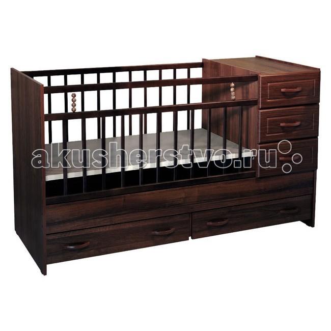 Кроватка-трансформер Ведрусс Раиса с комодомРаиса с комодомДетская кроватка 2 в 1 растет вместе с Вашим ребенком.  Кровать-трансформер для детей от 0 до 10 лет.  Сначала размер 120х60, потом 160х60 см Материал: ДСП, береза, МДФ Ящик: да, комод на 3 ящика, плюс два ящика под кроватью Длина: 1632 мм Ширина: 650 мм Высота: 958 мм Сколько уровней ложе: 2<br>