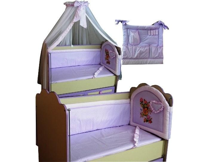 Комплект в кроватку Селена (Сдобина) для новорожденного 17 (8 предметов)для новорожденного 17 (8 предметов)Комплект в кроватку для новорожденного из 8 предметов:  Состав:  1. Одеяло – 110х140 - (бязь — хлопок 100%; наполнитель - шерсть); 2. Подушка – 40х60 - (бязь — хлопок 100%; наполнитель - шерсть); 3. Бампер с музыкальной игрушкой – 4 стороны (360 см) - (бязь — хлопок 100%; наполнитель - холлофайбер); 4. Балдахин - тюль (сетка) с отделкой из х/б ткани – (стандарт 500х170); 5. Пододеяльник – 112х142 - (бязь — хлопок 100 %); 6. Простынка с резинкой - (бязь — хлопок 100 %); 7. Наволочка 42х62 - (бязь — хлопок 100 %); 8. Сумка прикроватная (кармашек) - (бязь — хлопок 100 %, наполнитель - холлофайбер).<br>