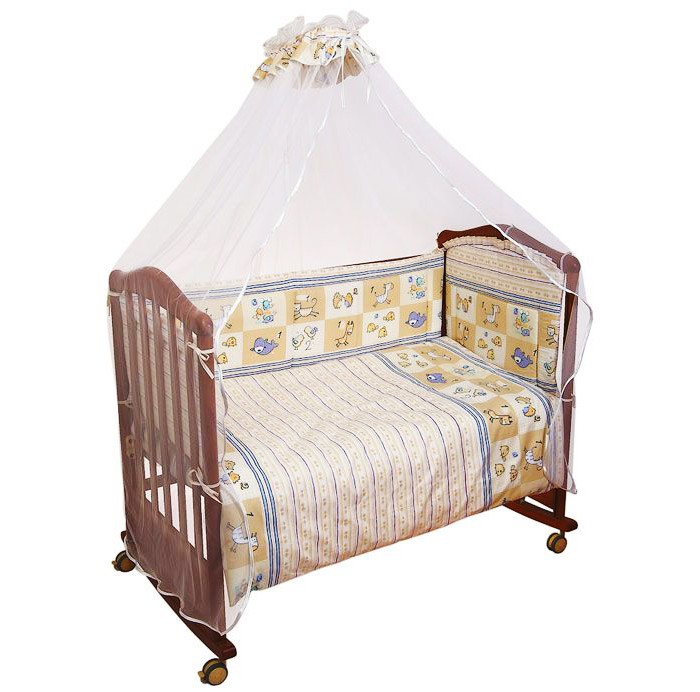 Комплект в кроватку Сонный гномик Считалочка (7 предметов)Считалочка (7 предметов)Кроватка Вашего малыша будет неотразимой и очень уютной. Ведь в комплект входит все необходимое для крепкого и безопасного сна малыша.  Характеристики: состав ткани: самая нежная бязь, 100% хлопок безупречной выделки ткань с забавным рисунком деликатные швы, рассчитанные на прикосновение к нежной коже ребёнка бельё сертифицировано, полностью безопасно и гипоаллергенно высокий бортик на весь периметр кроватки наполнитель бортика Холлкон плотностью 300 наполнитель одеяла и подушки Файберпласт большой балдахин из тончайшей сетки выпускается в размере 120х60 см  Комплект состоит из: 4,5 метрового балдахина бортика из 4х частей высотой 35см на весь периметр кроватки одеяла (размер 110х140 см) пододеяльника подушки (размер 40х60 см) наволочки простыни (размер 100х140 см)<br>