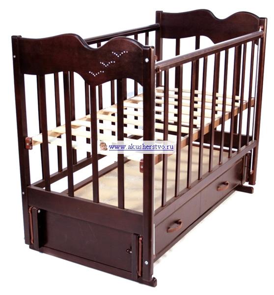 Детская кроватка Ведрусс Чайка 4 (продольный маятник) - Вишня
