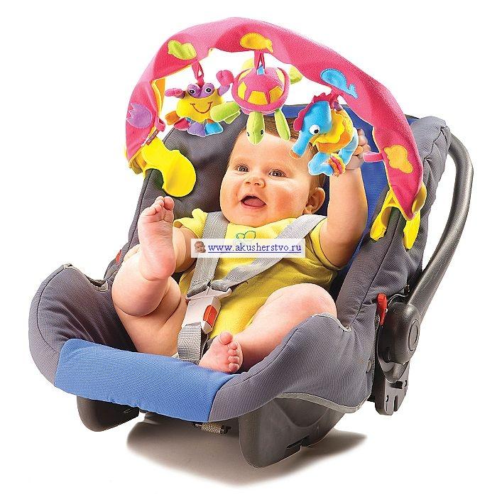 Tiny Love Дуга музыкальная с 3 игрушкамиДуга музыкальная с 3 игрушкамиДля малышей от 0 месяцев.  Музыкальная дуга с комплектом игрушек для кресла-няни, автомобильного кресла или прогулочной коляски. Радуга крепится с помощью удобных пластиковых клипс. 3 мягкие игрушки подвешиваются к дуге за мягкие петли, на высоту, удобную для малыша.  Три короткие мелодии и 1 звуковой сигнал при включении игрушки. У музыкальной игрушки есть выключатель.  Игрушка укомплектована батарейками 3хLR44-1,5V Размер упаковки: 53,5 х 29х 6,5 см<br>