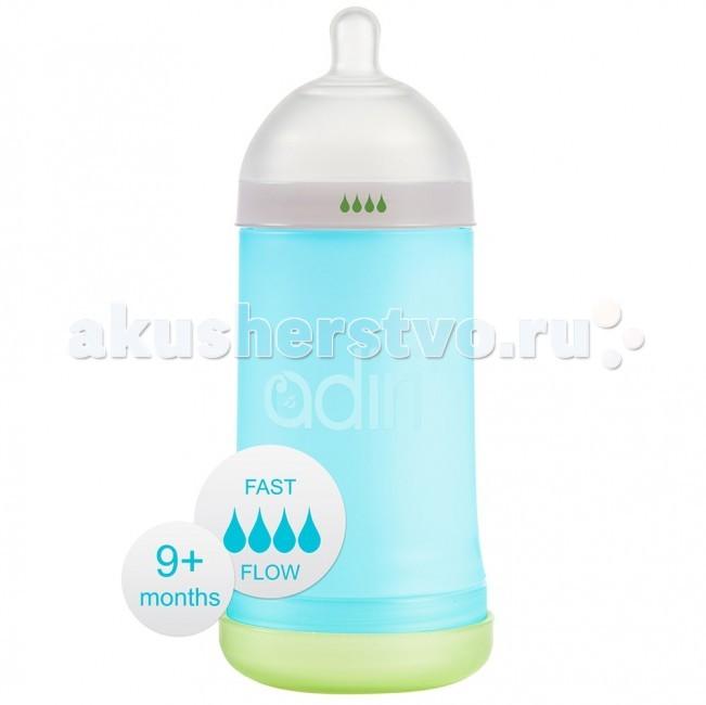 Бутылочка Adiri NxGen Fast Flow силикон от 9 мес. 281 мл