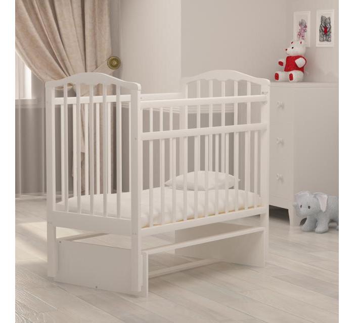 Детская кроватка Агат Золушка-3 маятник поперечный - Белый