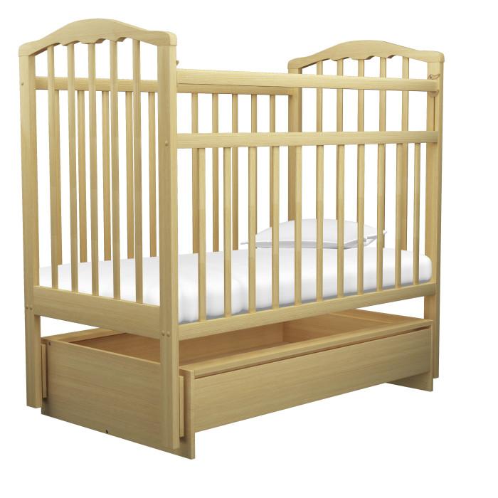 Детская кроватка Агат Золушка-4 маятник поперечный с ящиком - Светлый