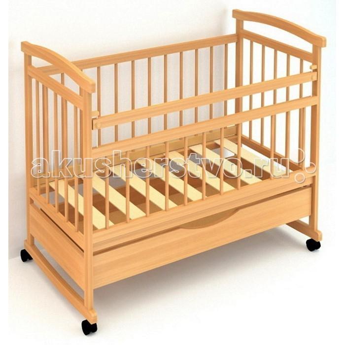 Детская кроватка Бэби Бум Аленка 1 качалкаАленка 1 качалкаДетская кроватка Бэби Бум Аленка 1 качалка  Внизу кроватки оборудован выдвижной ящик для вещей. Изготовлена детская кроватка из древесины массива сосны с покрытием из безопасных лаков.  Материалы: массив сосны; Особенности: опускающаяся боковина с одной стороны; два уровня основания; полимерные накладки на перекладины(«грызунки») колеса или качалка по выбору выдвижной ящик  качание - полозья для качания спинки - реечные стенки - реечные днище реечное все лаки на водной основе, гипоалергенны.<br>