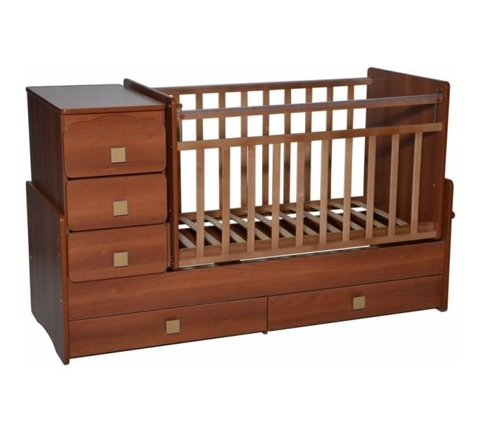 Кроватка-трансформер Антел Ульяна 2 поперечный маятникУльяна 2 поперечный маятникДетская кроватка-трансформер Антел Ульяна-2Бс маятниковым механизмом поперечного качания – кроватка 2 в 1, функциональная кроватка с встроенным комодом, позволяет значительно сэкономить пространство в детской комнате.  Кроватка трансформер Ульяна-2 рассчитана для детей с рождения и до подросткового возраста. Чтобы увеличить размер спального места достаточно снять боковые стенки и комод.  Характеристики:  Дно кроватки реечное имеет 2 уровня крепления по высоте.  Поднятое ложе обеспечивает оптимальное положение грудного младенца, опущенное - гарантирует безопасность активного малыша; боковая планка при необходимости легко снимается; комод снимается, увеличивая размер спального места на 40 см.  Размеры кровати трансформера Ульяна 2:  спальное место для новорожденного малыша – 120 х 60 см; спальное место для подростка – 170 х 60см ; размеры комода – 40 см на 60 см.  Материал: сосна + ДСП, фасад-МДФ.<br>
