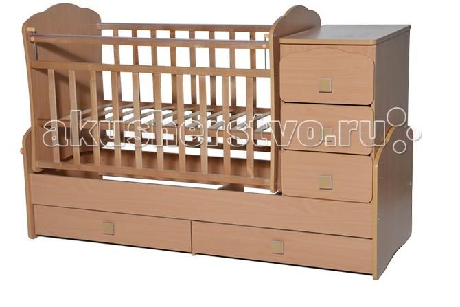 Кроватка-трансформер Антел Ульяна 1 поперечный маятникУльяна 1 поперечный маятникДетская кровать трансформер Ульяна 1 с маятниковым механизмом поперечного качания – кроватка 2 в 1, функциональная кроватка с встроенным комодом, позволяет значительно сэкономить пространство в детской комнате.  Кроватка Ульяна 1 сочетает в себе: кроватку; комод для хранения детских вещей; большой выдвижной ящик внизу кроватки.  Кроватка трансформер Ульяна-1 рассчитана для детей с рождения и до подросткового возраста. Чтобы увеличить размер спального места достаточно снять боковые стенки и комод.  Характеристики кровати трансформера Ульяна-1:  - Дно кроватки реечное имеет 2 уровня крепления по высоте. Поднятое ложе обеспечивает оптимальное положение грудного младенца, опущенное - гарантирует безопасность активного малыша;  - боковая планка при необходимости легко снимается;  - комод снимается, увеличивая размер спального места на 40 см.  Размеры кровати трансформера Ульяна 1:  - спальное место для новорожденного малыша – 120 х 60 см;  - спальное место для подростка – 170 х 60см ;  - размеры комода – 40 см на 60 см.  Материал: сосна + ДСП, фасад-МДФ.<br>