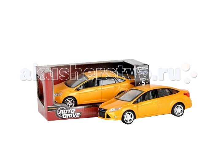 AutoDrive Машинка инерционная Ford Focus 1:22Машинка инерционная Ford Focus 1:22Инерционная модель автомобиля AutoDrive Ford Focus произведена по лицензии автоконцерна Ford. Высокая детализация и металлический корпус ставят ее в один ряд с коллекционными машинками, а 5 игровых функций делают машинку отличной детской игрушкой.  Автомобиль обладает подвижными элементами: у него открываются двери, капот и багажник. При нажатии на корпус светятся фары, раздается звук зажигания и сигнализации. Колеса машинки прорезинены, мелкие декоративные детали, придающие игрушке исключительную реалистичность, выполнены из пластика.   Ford Focus - отличная машина для города. Ее небольшой размер, маневренность и универсальный дизайн сделали американский автомобиль действительно народной моделью. Игрушка может самостоятельно проезжать небольшое расстояние за счет инерционного механизма. Отведите машинку назад и отпустите, чтобы она поехала вперед.  Работает от 3 батареек AG13/LR44 (миниатюрные).<br>