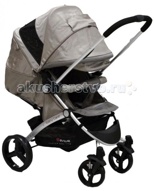 Прогулочная коляска Baby Care SevilleSevilleBaby Care Seville – стильная современная коляска с перекидной ручкой. Безопасности и комфорту ребенка в этой модели отведено особое место. Глубокое просторное сидение можно практически полностью закрыть большим капюшоном, который опускается до бампера. Также капор оснащен большим смотровым окном для контроля за ребенком. Спинка регулируется механически и плотно фиксируется, а благодаря выдвижной подножке можно получить действительно большое спальное место. При необходимости можно отстегнуть заднюю часть капюшона, оставив только москитную сетку.   Коляска складывается «книжкой» и фиксируется в сложенном состоянии, что очень удобно для транспортировки и хранения.  Особенности:  облегченная алюминиевая рама; перекидная ручка позволяет ребенку сидеть как лицом к дороге, так и лицом к маме; большой капюшон с двумя смотровыми окошками может опускаться до бампера; глубокое просторное спальное место; механическая регулировка наклона спинки. Спинка раскладывается до горизонтального положения; выдвижная подножка удлиняет спальное место; передние колеса плавающие с возможностью фиксации; стояночный тормоз на задней оси; съемный поручень с мягкой обивкой; 5-точечные ремни безопасности; коляска складывается книжкой, компактан в хранении и транспортировке.   Комплектация:  дождевик; чехол на ноги.   Характеристики:   Диаметр колес: передние – 17 см, задние – 24 см Тип колес: пластиковая имитация; одинарные Механизм складывания:книжка Ширина колесной базы: 58 см Вес:10,5 кг  Размеры:  ширина сиденья: 34см глубина сиденья: 28см длина спального места: 83см<br>