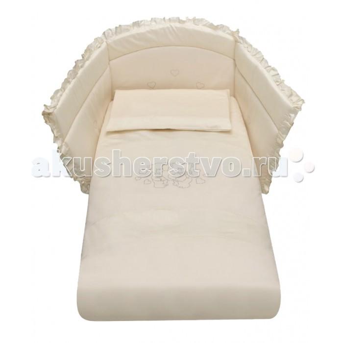 Комплект в кроватку Baby Italia Gioco LUX cо стразами (4 предмета)Gioco LUX cо стразами (4 предмета)Комплект постельного белья Gioco LUX со стразами состоит из 4-х предметов:  наволочка: 35х55 см  одеяло: 65х130 см  пододеяльник: 90х135 см  борт на половину кроватки - высота 45х50 см Материал: 100% хлопок  Наполнитель одеяла и бортов: 100% полиэстер  Ручная стирка при температуре не више40°C<br>