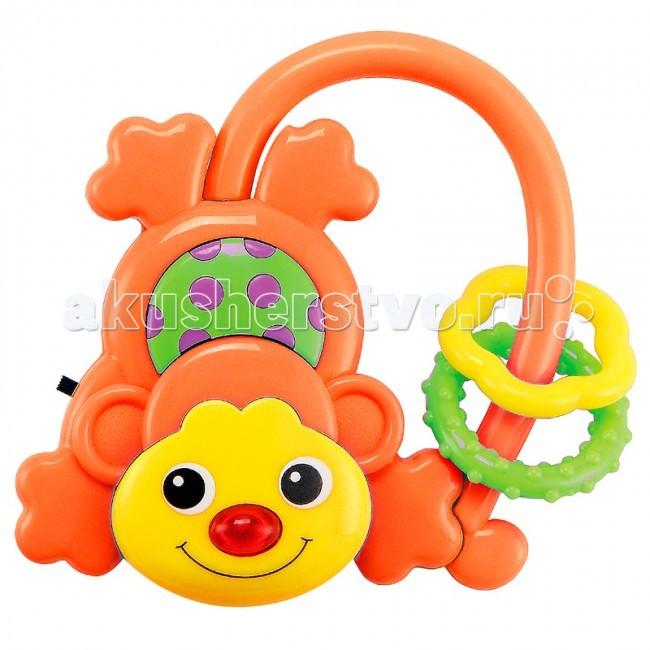 Погремушка Baby Mix музыкальная Обезьянкамузыкальная ОбезьянкаМузыкальная игрушка-погремушка Обезьянка оснащена различными деталями и элементами со звуковыми и световыми сигналами. Такая игрушка заинтересует как малыша, так и ребенка постарше.  Особенности: сделана из прочного, высококачественного материала сбоку находится небольшая кнопка-переключатель при звучании музыки светится носик Обезьянки эргономичная ручка сделана специально для маленьких детских пальчиков имеет аккуратные безопасные края для работы нужны батарейки детали разных цветов стимулируют развитие зрительных способностей и цветового восприятия трогая ручками элементы, кроха тренирует пальчики и осваивает хватательный рефлекс<br>