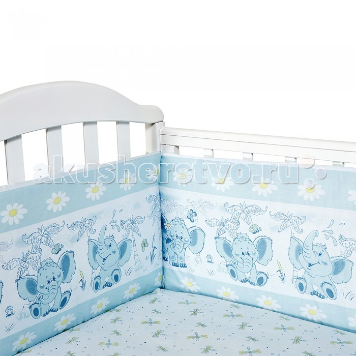 Бампер для кроватки Baby Nice (ОТК) СлоненокСлоненокБампер для кроватки Baby Nice Слоненок является отличной защитой малыша от сквозняков и ударов при поворотах в кроватке.   Ткань верха: 100% хлопок бязь Люкс, наполнитель: экологически чистый нетканый материал для мягкой мебели — периотек.   Дизайны бортов сочетаются с дизайнами постельного белья, так что, можно самостоятельно сделать полный комплект, идеальный для сна.   Борта в кроватку — мягкие удобные долговечные: надежная и эстетичная защита вашего ребенка!   Борт раздельный 120х35-2 шт., 60х35-2 шт.<br>