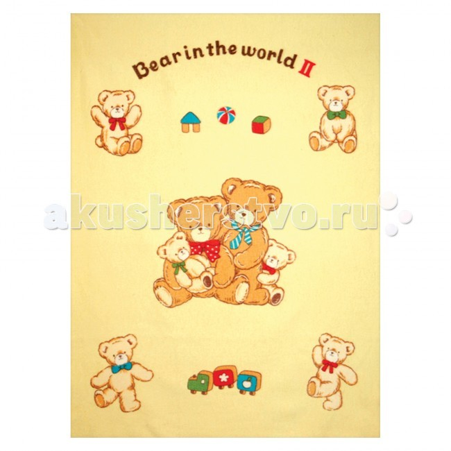 Одеяло Baby Nice (ОТК) байковое Семейство медвежат 100х140 см