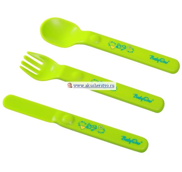 BabyOno Столовые приборы пластмассовыеСтоловые приборы пластмассовыеСтоловые приборы пластмассовые - ложка, вилка и нож.  Практичные и удобные: идеальные для освоения навыков самостоятельного приёма пищи эргономичная форма, рассчитанная для маленьких детских ручек изготовлены из безопасных и прочных материалов<br>