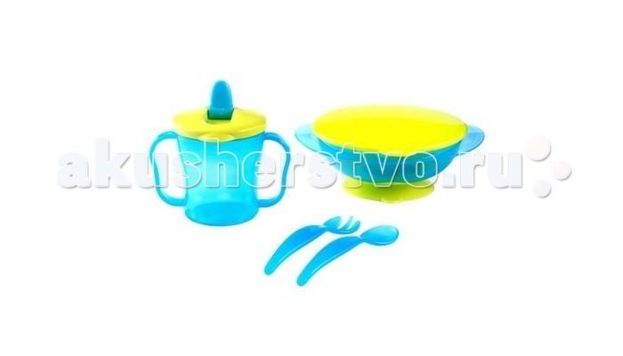 BabyOno Столовый набор - BabyOnoСтоловый наборНабор посуды (тарелочка с присоской, ложечка и вилочка для кормления, поильник с ручками) BabyOno 1034  Практичный: тарелка с  резиновой присоской предотвращает перемещение тарелки по столу кружечка с эргономичными  ручками прекрасно подходит для маленьких ручек ребенка, ее удобно держать и подносить ко рту кружечка имеет профилированный носик, благодаря чему ребенок может безопасно и самостоятельно пить ложечка и вилка с закругленными кончиками, благодаря которым ребенок может безопасно учиться кушать самостоятельно для использования в микроволновой печи (без крышки) и посудомоечной машине ударостойкая посуда идеальный набор для освоения навыков самостоятельного приёма пищи изготовлен из безопасных материалов, предназначенных для контакта с пищей, не содержащих бисфенол А  В комплекте: тарелка с присоской и крышкой вилка и ложка тренировочная кружка с закрывающимся носиком<br>