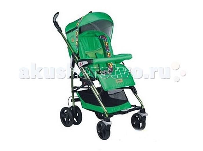 Коляска-трость Baciuzzi B-5B-5Baciuzzi B-5 – удобная коляска-трость для детей от 6 месяцев до 3 лет. За счет передних поворотных колес модель характеризуется высокой маневренностью в условиях города, а для прогулок по лесопарковой зоне колеса можно зафиксировать в режиме прямого хода. Коляска имеет просторное сидение, оборудованное пятиточечными ремнями безопасности и объемным капюшоном со смотровым окном. Спинка сидения и подножка регулируются в нескольких положениях по наклону, создавая комфортное спальное место. Коляска удобно и компактно складывается тростью и помещается в багажник любого автомобиля.  Шасси: Облегченная алюминиевая рама Возможность установки автокресла или люльки Фиксируемые поворотные передние колеса Тросовый механизм тормоза на задних колесах (при нажатии тормоза на одном колесе фиксируются оба) Тканевая корзина для покупок  Прогулочный блок: Регулируемая в 3-х положениях спинка Регулируемая в 2-х положениях подножка 5-титочечные ремни безопасности с мягкими плечевыми накладками Съемная перекладина перед ребенком Регулируемый капюшон с солнцезащитным козырьком и смотровым окном Установка в любом направлении движения Съемные пригодные для стирки чехлы Съемная накидка на ноги  Комплектность: Шасси, прогулочный блок Накидка на ножки<br>