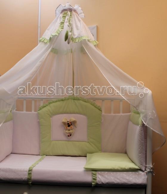Комплект в кроватку Балу Любимчик (7 предметов)Любимчик (7 предметов)Комплект в кроватку Балу Любимчик состоит из 8 предметов. Красивый дизайн и нежные тона украсят любую комнату. Бампер комплекта наполнен специальным утеплителем для детского белья и одежды - синтепон, который надежно защитит малыша от сквозняков и травм.  Комплект состоит из 8 предметов: борт 4-х сторонний (высота 40 см)  балдахин 4.5 метра (вуаль ) одеяло (100х140 см) пододеяльник (100х140 см) простынка (110х150 см) наволочка (40х60 см) подушка (40х60 см)  Ткань: бязь, шитье, вуаль  Наполнитель: синтепон, холлкон<br>