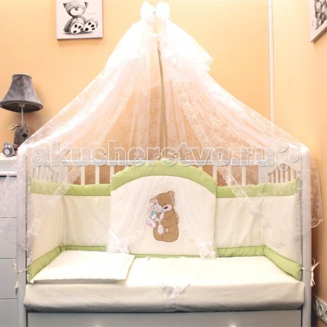 Комплект для кроватки Балу Спокойной ночи (7 предметов)Спокойной ночи (7 предметов)Комплект в кроватку Балу Спокойной ночи состоит из 7 предметов. Красивый дизайн и нежные тона украсят любую комнату. Бампер комплекта наполнен специальным утеплителем для детского белья и одежды - синтепон, который надежно защитит малыша от сквозняков и травм.  Комплект состоит из 7 предметов: борт 4-х сторонний (высота 40 см)  балдахин 4 метра (сетка) одеяло (100х140 см) пододеяльник (100х140 см) простынка (110х150 см) наволочка (40х60 см) подушка (40х60 см)   Ткань: велюр, бязь, сетка Наполнитель: синтепон<br>