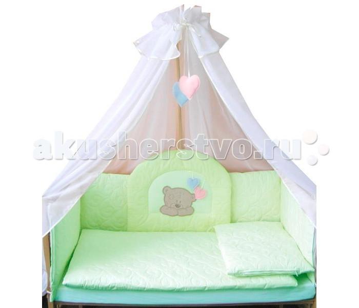 Комплект в кроватку Балу Тедди (7 предметов)Тедди (7 предметов)Комплект в кроватку Балу Тедди состоит из 7 предметов. Красивый дизайн и нежные тона украсят любую комнату. Бампер комплекта наполнен специальным утеплителем для детского белья и одежды - синтепон, который надежно защитит малыша от сквозняков и травм.  Комплект состоит из 7 предметов: борт 4-х сторонний (высота 40 см, съемные чехлы)  балдахин 4.5 метра (вуаль) одеяло (100х140 см) пододеяльник на молнии (100х140 см) простынка (110х150 см) наволочка (40х60 см) подушка (40х60 см)   Ткань: термостежка, бязь, вышивка, вуаль Наполнитель: синтепон<br>