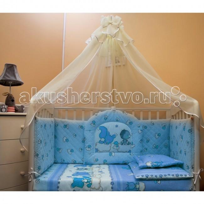 Комплект в кроватку Балу Веселые зверушки (8 предметов)Веселые зверушки (8 предметов)Комплект в кроватку Балу Веселые зверушки состоит из 8 предметов. Красивый дизайн и нежные тона украсят любую комнату. Бампер комплекта наполнен специальным утеплителем для детского белья и одежды - синтепон, который надежно защитит малыша от сквозняков и травм.  Комплект состоит из 8 предметов: борт 4-х сторонний (высота 40 см)  балдахин 4 метра (сетка с кружевом) одеяло (100х140 см) пододеяльник (100х140 см) простынка (110х150 см) наволочка (40х60 см) подушка (40х60 см)  подушка-думка  Ткань: термостежка, бязь, вуаль  Наполнитель: синтепон<br>