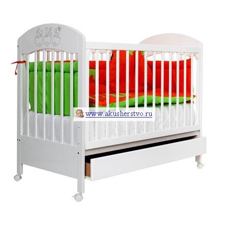 Детская кроватка Bambino Gloria с ящиком - Белый