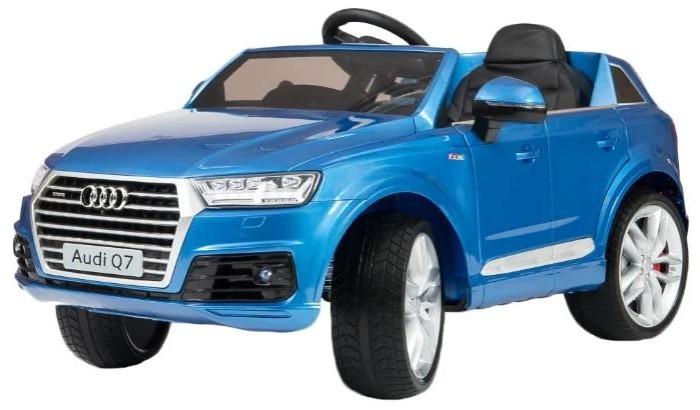 Электромобиль Barty Audi Q7Audi Q7Электромобиль Ауди Q7 - точная лицензионная мини-копия взрослого внедорожника, перенял в себя основные достоинства роскошного прототипа: стиль и надежность. Кузов в точности повторяет дизайн взрослого авто, решетка радиатора и руль оснащены фирменными эмблемами Ауди, салон электромобиля максимально реалистичен, двери открываются, на них есть фиксаторы предотвращающие случайное открывание, комфортное водительское сиденье из кожи с ремнями безопасности,настоящие зеркала помогут контролировать «дорожную обстановку».   Большие каучуковые колеса с амортизаторами делают машинку проходимой по бездорожью и обеспечивают хорошее сцепление с любым дорожным покрытием. Два двигателя суммарной мощностью в 70 W позволяют кататься со скоростью до 7-ми км/ч. Электромобиль оснащен настоящей магнитолой с возможностью проигрывания музыки с флэшки или Sd карты, а также удобным музыкальным рулем.  для детей от 3 до 8 лет  одноместный большие колеса EVA с амортизаторами  покраска глянец  аккумулятор 12V/7Ah  два двигателя: 2x35W  максимальная скорость 7 км/ч  движение вперед и назад  максимальная нагрузка 35 кг  заводится с кнопки  пульт управления Bluetooth  ремни безопасности  удобный руль с музыкальными эффектами  вход для карты SD, USB, FM-radio, MP3  диодные огни фар  открывающиеся двери с фиксаторами  Размер: 117 х 67 х 57 см  Вес: 17.5 кг<br>