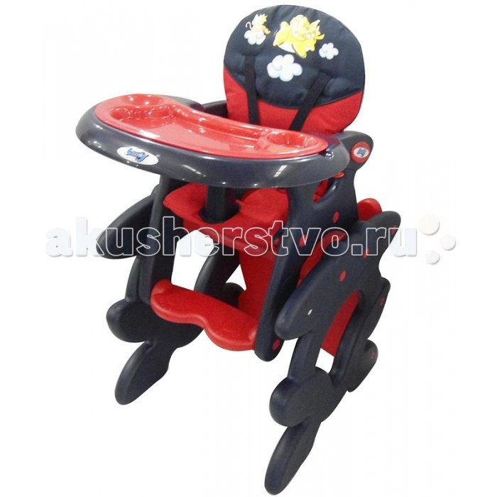 Стульчик для кормления Barty LoretiLoretiBarty Loreti - функциональный стульчик для кормления детей 2в1, способный легко трансформироваться в стульчик с партой.   Необычный, оригинальный дизайн с аппликацией и яркие цветовые решения безусловно понравятся, Вашему маленькому крохе.  Спинка имеет три положения наклона, позволяя усадить ребенка максимально удобно. Столешница также может фиксироваться в трех положениях по глубине.   За безопасность отвечают надежные 5-точечные ремни безопасности и съемный ограничитель. Для удобства родителей , столешницу также можно легко отстегивать для чистки.  Основание выполнено таким образом, что он может прекрасно скользить по плитке и линолеуму.   Стульчик легко складывается и не занимает много места в собранном виде. Ваш маленький герой будет доволен пользуясь стульчиком Barty Loreti.  Размеры сиденья: 30 х 26 см Максимальные размеры столешницы: 60 &#215; 52 см Глубина: 70 см Ширина: 57 см Высота: 104 см Высота до сиденья: 66 см Максимальный объем: 75 х 50 см  Стул-стол: Высота до сиденья: 30 см Высота до столешницы: 53 см Вес: 9.2 кг<br>