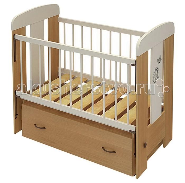 Детская кроватка Бэби Бум Зайка (маятник поперечный) - Бук/Ваниль