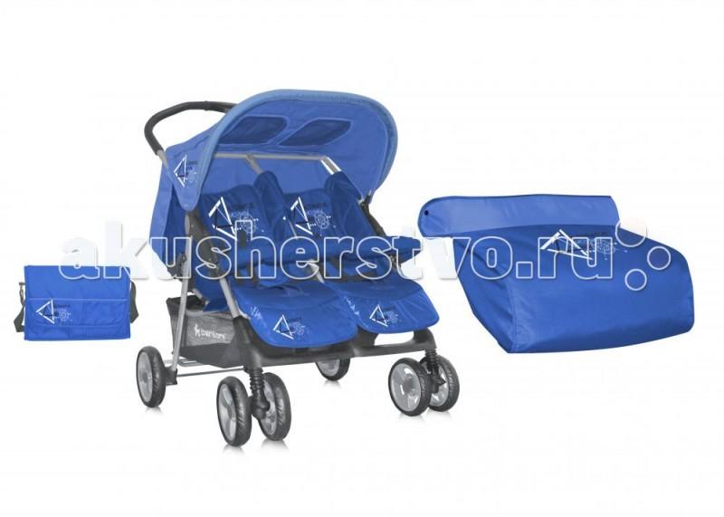 Bertoni (Lorelli) Коляска для двойни TwinКоляска для двойни TwinПрогулочная коляска для двойни Bertoni Twin - это идеальный вариант для прогулки с 2-мя малышами. Яркие цвета, комфорт и маневренность обязательно понравятся Вам и Вашим деткам. Спинки сидений регулируются независимо друг от друга.  Характеристика прогулочной коляски для двойни Bertoni Twin: Коляска для двойни предназначена для детей от 7-ми месяцев до 3-х лет. Спинки сидений плавно регулируемые независимо друг от друга. 5-ти точечные ремни безопасности надежно удержат малышей на месте. Съемный бампер предназначен для дополнительной безопасности. Подножки для ножек регулируются. Солнцезащитные козырьки защитят малышей от палящего солнца.  Капюшоны оснащены смотровыми окошками.  Чехлы на ножки входит в комплект. 6 колес: передние двойные, задние одинарные. Передние колеса поворотные с фиксаторами. Все колеса амортизированы. Тормоз размещен на каждом заднем колесе. Легко и быстро складывается одной рукой. В сложенном виде занимает мало места. Корзина для покупок входит в комплект. Коляска изготовлена из высококачественных материалов. Материал: пластик, текстиль, алюминий. Размеры коляски в разложенном виде (ШхГхВ): 78х88х105 см. Размеры коляски в сложенном виде (ДхШ): 94х38 см.  Диаметр колес: 20 см. Вес: 15,5 кг.<br>