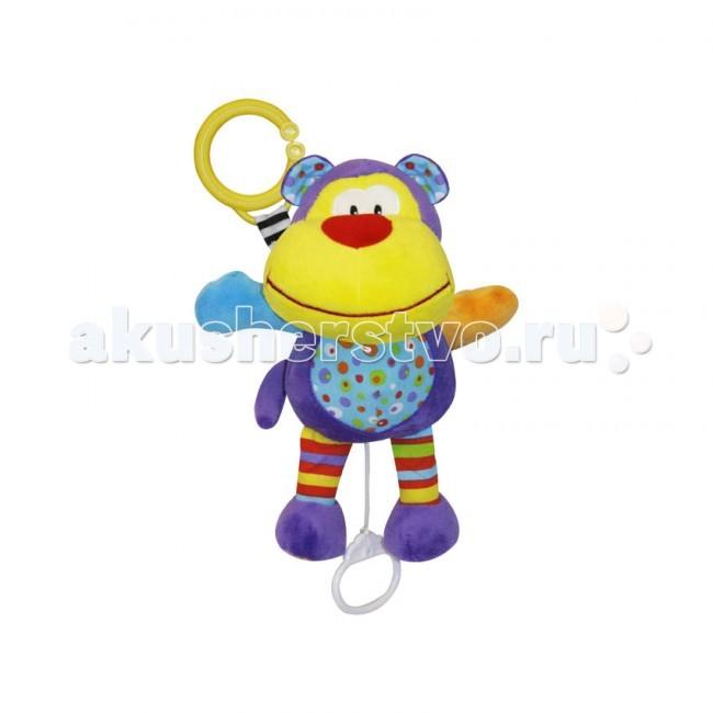 Подвесная игрушка Bertoni (Lorelli) мягкая музыкальнаямягкая музыкальнаяМногие дети любят мягкие игрушки, мягкая текстура игрушек хорошо успокаивает и настраивает малышей на положительный лад, а если еще игрушка музыкальная, то это замечательно в двойне.   Веселые и заводные мелодии привлекают внимание маленьких любопытных крох, настраивая на игру, а мягкая текстура игрушки, безопасна для малышей любого возраста, ведь на такую игрушку можно и упасть и облокотиться и даже лечь, и все будет нипочем.  Игрушка мягкая музыкальная от компании Lorelli, размером 25 сантиметров, крепится на кроватку, манеж или коляску, можно так же разместить на развивающем коврике или шезлонге. Веселая игрушка издает мелодии, если потянуть за кольцо, поэтому игра с такой игрушкой станет на много интереснее, чем просто дотягиваться до обычных пластиковых или мягких подвесок.<br>