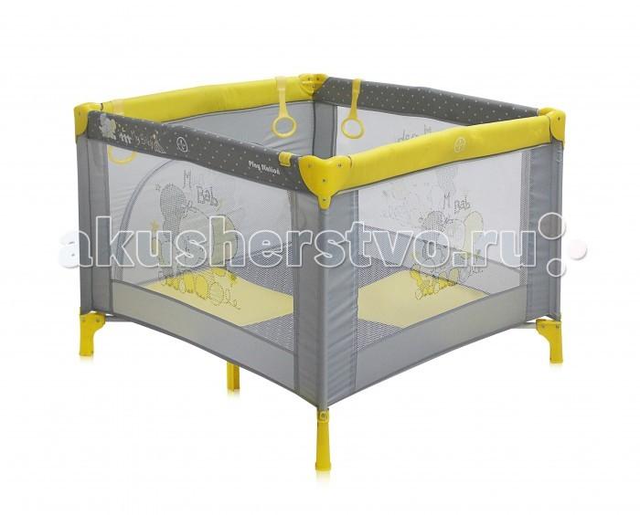 Манеж Bertoni (Lorelli) Play StationPlay StationДетский манеж Bertoni Play Station выполнен в современном стиле, компактен в сложенном виде. Отсутствуют острые углы, ткань приятная на ощупь.  Особенности: Квадратный просторный манеж Травмобезопасная конструкция  Центральная ножка для обеспечения безопасности Легко складывается в компактную, удобную для переноски сумку  Яркие, прочные, легкомоющиеся тканевые части  Специальные кольца на боковинках для помощи малышу научиться вставать Сетчатые вставки в боковинах для лучшей вентиляции и обзора Отстегивающийся боковой лаз, чтобы малыш мог сам забираться в манеж и выбираться из него  Размеры: 90х100x75 см.<br>