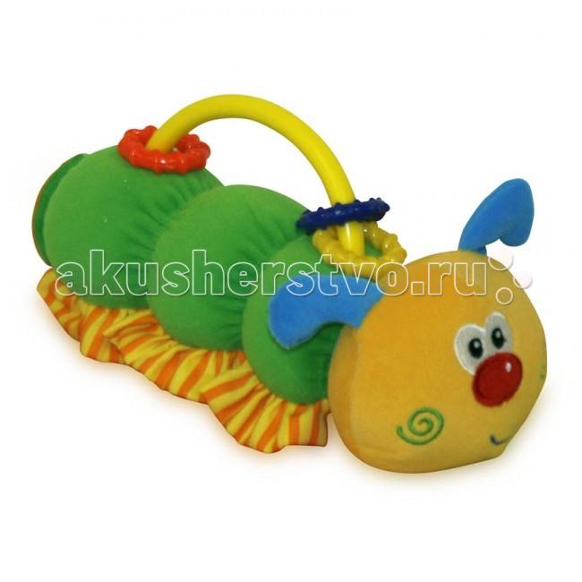 Погремушка Bertoni (Lorelli) с пищалкой Гусеницас пищалкой ГусеницаПриятная на ощупь плюшевая игрушка изготовлена из высококачественных материалов.  Яркий цвет и встроенная погремушка стимулирует развитие органов зрения и слуха. Внутри мячик с погремушкой.  Кроме того, игрушка развивает воображение и успокаивает малыша, даря ему чувство безопасности.<br>