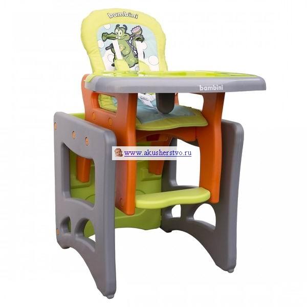 Стульчик для кормления Bambini LuxLuxCтул – трансформер Bambini Lux  Трансформирутся в стол со стулом 5-точечные ремни безопасности и анатомическая вставка для разделения ног удерживают ребенка в надежном и безопасном положении  Регулируемое положение спинки (3 положения) Мягкая обивка снимается и моется Стульчик выполнен из полностью безопасных материалов, соответствует строгим европейским стандартам качества для детских товаров<br>