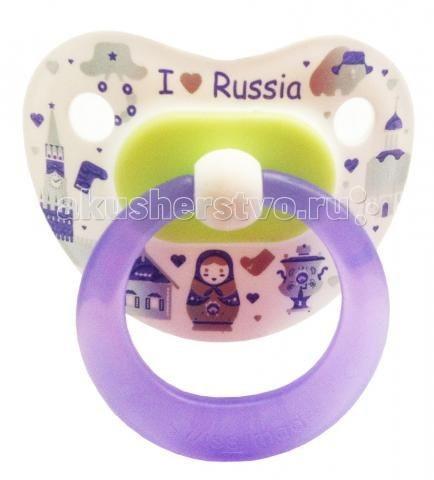 Пустышка Bibi Я люблю Россию ортодонтическая силикон дневная с 6 мес.