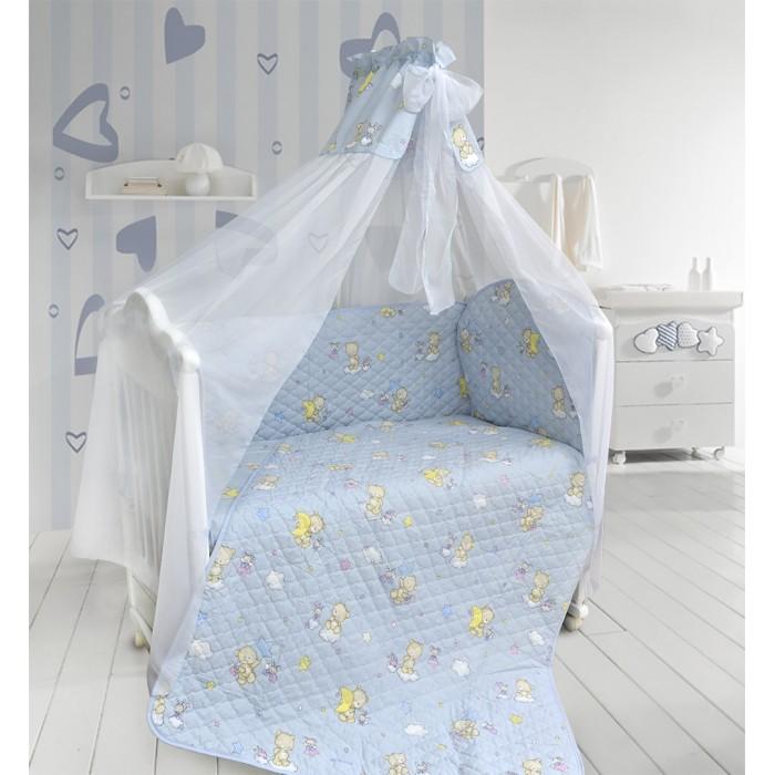 Комплект в кроватку Bombus Универсальный (6 предметов)Универсальный (6 предметов)Натуральный хлопок обладает успокаивающим действием на кожу. Поэтому комплект «Универсальный», который изготовлен из 100% хлопка, делает сон вашего малыша невероятно крепким и спокойным, дарит нежность и невероятный комфорт во время отдыха. Одеяло-пододеяльник очень легкое, почти невесомое. А зимой вы можете использовать его как утепленный пододеяльник, заправив внутрь любое из ваших одеял.  Стежка комплекта выполнена на высокотехнологичном импортном оборудовании, что позволяет воплотить дизайнерские и технологичные идеи в создании этого комплекта. Бортики по всему периметру кроватки сделают сон малыша безопасным. Нежный балдахин изготовлен из мягкой и нежной вуали, отделан вверху вставкой из ткани с принтом и бантом. Это элегантный и красивый аксессуар для детской кроватки, который создает ощущение уюта и красоты.  Такой комплект будет радовать малыша, который будет с удовольствием спать в кроватке с таким великолепным постельным бельем!  Комплект состоит из 6 предметов:  бампер охранный (360 см х 40 см) пододеяльник-покрывало стеганный (110 см х 148 см) подушка (40 см х 60 см) наволочка (40 см х 60 см) простыня (100 см х 150 см) балдахин (175 см х 400 см)  Ткань - 100 % хлопок. Наполнитель: холлкон.<br>