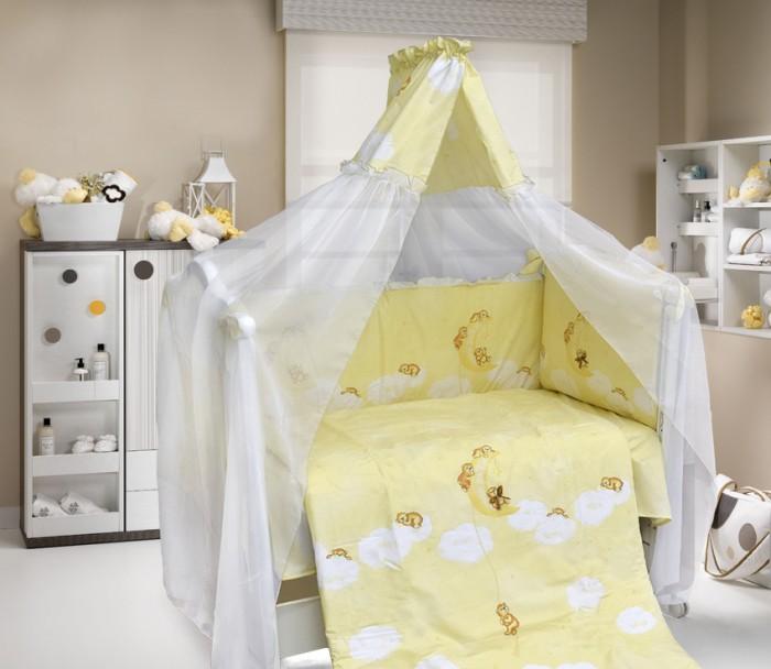 Комплект в кроватку Bombus Лунный мишка (7 предметов)Лунный мишка (7 предметов)Очень нежный и красивый комплект постельного белья для кроватки Bombus Лунный мишка.  Описание комплекта: одеяло: 105х142 см подушка: 40х60 см простыня: 110х150 см бампер: 360х40 см балдахин-вуаль: 180х400 см наволочка: 40х60 см пододеяльник: 110х145 см  Ткань: хлопок 100% Наполнитель: холлкон<br>