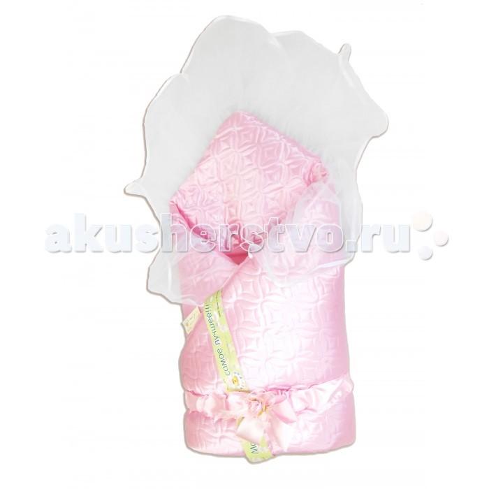 Bombus Конверт-одеяло на выписку МилаКонверт-одеяло на выписку МилаДля торжественного дня, когда вашу кроху выписывают из роддома, подойдет это великолепное одеяло.   Оно отделано очень нежным кружевом, украшено красивым бантом.  Материал: атлас стеганный Размер: 110 х 110 см<br>