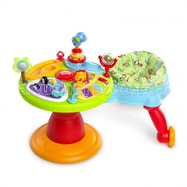 Игровой центр Bright Starts Зоопарк 360Зоопарк 360Игровой центр Bright Starts Зоопарк 360 прекрасно подойдет для детей возрастом от 4 месяцев до 2 лет. Уникальное сиденье, вращающееся под углом 360 градусов, позволит ребенку гулять вокруг столика для игры. Данное сиденье очень легко убирается, благодаря чему появляется возможность использовать только игровой столик. В развивающем центре имеется специальный сектор пианино, который имеет возможность работы в нескольких режимах: различные звуки, мелодии и пианино. Отдельный сектор позволит играть с бусинками и дугой, пауком, выпрыгивающими фигурам, а также со скользящей лягушкой.  К тому же, развивающий центр имеет целый ряд других игрушек: погремушка с пчелкой на стебле, трещотка в виде лягушонка, сектор с зеркальцем и др. Эти игрушки станут лучшими друзьями малыша. Стебли с бабочкой и стрекозой позволят малышу кусать их во время того, как у него начнут резаться зубки. Панель, на которой располагаются игрушки, очень легко моется, благодаря особому покрытию.  Развивающий центр Чудесный сад 360 станет настоящим подарком для любого ребенка.  Особенности: Сиденье поворачивается на 360°, позволяя ребенку прогуливаться вокруг игрового столика Сиденье легко убирается, и тогда можно использовать только игровой столик Сектор пианино с возможностью переключения трех режимов: мелодии, различные звуки и пианино Для хранения складывается в плоскую конструкцию<br>