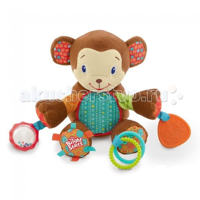 Мягкая игрушка Bright Starts Море удовольствияМоре удовольствияРазвивающая игрушка Bright Starts Море удовольствия – это целый комплекс развивающих элементов, который порадует вашего малыша. Текстильные, шуршащие элементы привлекут внимание любого малыша, а также доставят ему массу удовольствий.   Пружинящие ножки игрушки развеселят малыша: правая ножка игрушки покрыта шуршащей тканью, которая, как известно, привлекает внимание и веселит детей. На левой ножке слоненка расположен прорезыватель с веселым колокольчиком. Прорезыватель поможет крохе чесать свои зубки, во время их роста.  Левая ручка игрушки имеет кольца – погремушки, которые ребенок может сам брать и трусить, при этом они издают звонкий, веселый звук. Правая ручка слоненка оснащена крутящимся шариком, который станет отличным помощником в развитие моторики у малыша. Целый набор интересных и развивающих игрушек порадует Вашего малыша. Маленькие размеры позволят взять игрушку в любое путешествие или поездку.<br>