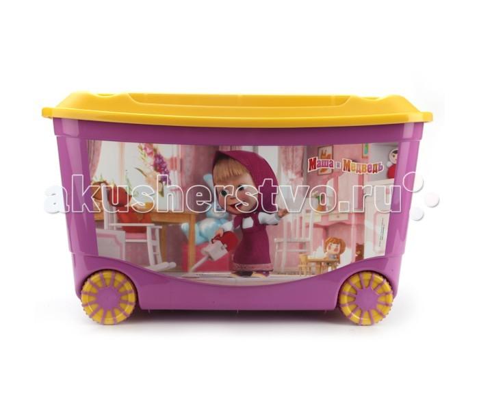 Бытпласт Ящик для игрушек на колесах Маша и Медведь