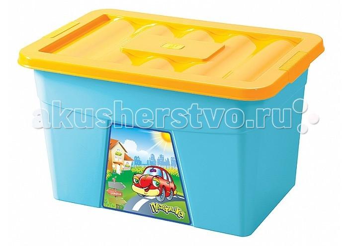Бытпласт Ящик для игрушек на колесах с аппликацией