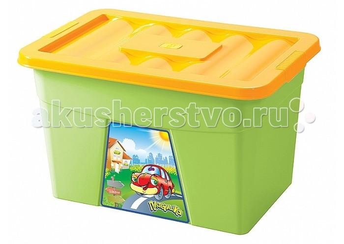 Бытпласт Ящик для игрушек на колесах с аппликациейЯщик для игрушек на колесах с аппликациейВместительный ящик для игрушек с аппликацией на колесах предназначен для хранения игрушек.  оснащен колесиками изготовлен из полипропилена размеры: 60 x 40 x 36 см<br>