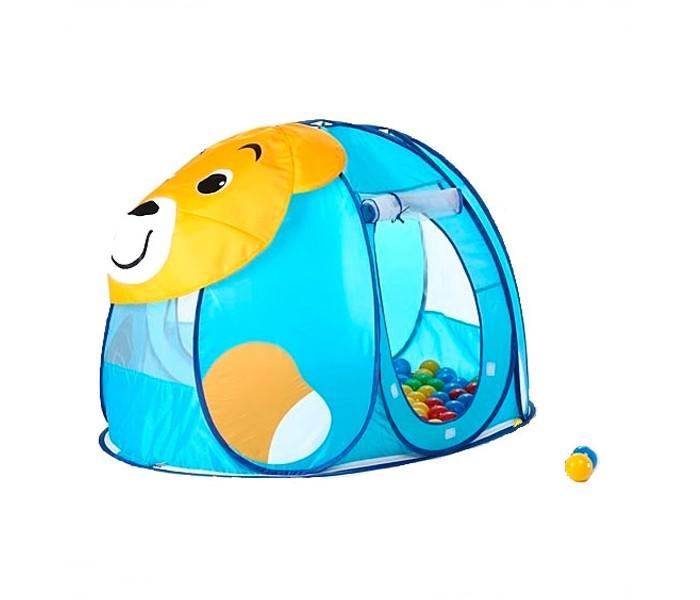 Calida Дом-палатка + 100 шаров МишкаДом-палатка + 100 шаров МишкаИгровая палатка Calida Мишка замечательно подходит как для игр в помещении, так и для летнего отдыха детей за городом, на даче или пикнике.  Легкая, прочная палатка, легко стирается и удивительно проста в сборке. Большое круглое отверстие-вход закрывается дверкой-шторкой и надёжно прикрепляется к основе с помощью «липучек», в открытом состоянии дверка может быть скручена и закреплена под крышей с помощью верёвочек. На боковых стеночках и «крыше» есть вставки из сетчатого материала.  В комплекте: палатка 100 шариков (диаметр 7 см) круглая нейлоновая сумочка на молнии  Материал: поливинилхлорид. Размер палатки: 130х90х85 см.<br>