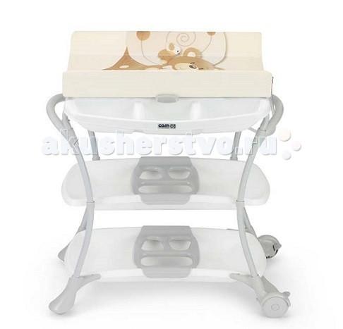 Пеленальный столик CAM NuvolaNuvolaПеленальный столик Nuvola от знаменитого итальянского производителя детских товаров CAM обладает уникальным дизайном, в котором с легкостью сочетается классика исполнения с новаторскими элементами.   Столик включает в себя новую ванночку, туалетную полочку, 2 ручки для лёгкой переноски, 2 широкие пластмассовые полочки. Задние колёса с тормозами. Механизм безопасности не даёт пеленальной полочке случайно упасть на голову ребёнка.   Столик соответствует Европейским стандартам безопасности.  Предназначен для детей от 0 до 12 месяцев. Размеры: 97 x 61 x 104h см. Вес: 9.7 кг.<br>